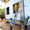 HADLEY GREEN/ Staff photo<br /> Women volunteered for North Shore Habitat for Humanity to construct two houses on Asbury street in South Hamilton as part of National Women Build Week. 5/6/17
