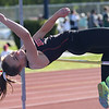 HADLEY GREEN/ Staff photo<br /> Beverly's Tyler Orlandella high jumps at the NEC track championships at Peabody High School. 5/20/17