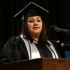 HADLEY GREEN/ Staff photo<br /> Student speaker Kelly Alvarez addresses her classmates and shares her story at the North Shore Community College commencement ceremony. 5/25/17