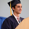 HADLEY GREEN/ Staff photo<br /> Blake Hekmatpour, the class valedictorian, speaks to his classmates at the St. John's Prep commencement ceremony. 5/21/17