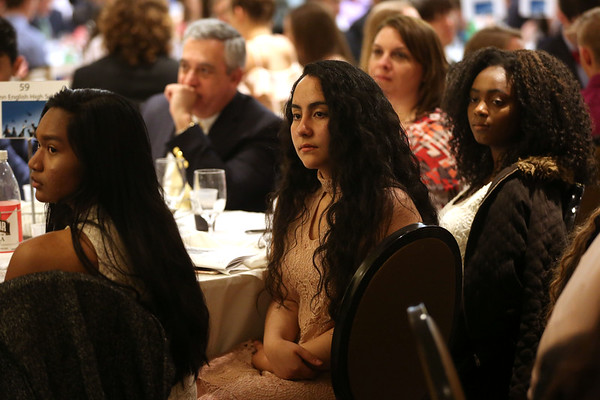 HADLEY GREEN/ Staff photo<br /> From left, Victoria Say, Sandy Espindola, and Stephanie Paul, all seniors at Lynn English High School, were recognized at the 49th Annual Honor Scholars Recognition Dinner held at the Doubletree Hotel in Danvers. 5/9/17