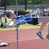 HADLEY GREEN/ Staff photo<br /> Peabody's Alex Flewelling high jumps at the NEC track championships at Peabody High School. 5/20/17