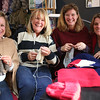 HADLEY GREEN/ Staff photo<br /> From left, Francie Hill, Elaine Purdy, Kate Dailey, and Shelly Bedrossian of Marblehead knit blankets, hats, scarves and mittens for military members returning home from active duty as part of a Marblehead SPUR initiative. 5/4/17