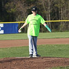 HADLEY GREEN/ Staff photo<br /> Nathan DeRoche throws the first pitch at the Swampscott v. Masco boys baseball game at Swampscott Middle School. 5/12/17