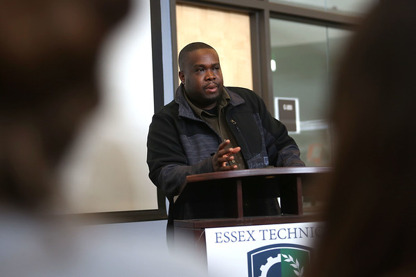 HADLEY GREEN/ Staff photo<br /> Claude Kaitare, a Rwandan genocide survivor and Lynn resident, speaks to Essex Tech students taking a class on genocide, human rights and refugees.  5/12/17