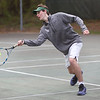HADLEY GREEN/ Staff photo<br /> Ben Danforth hits the ball during doubles play at the Hamilton-Wenham v. Ipswich boys varsity tennis match at Pingree park in Wenham. 5/11/17