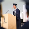HADLEY GREEN/ Staff photo<br /> Graduating senior Andrew Salima introduces the faculty keynote speaker at the St. John's Prep commencement ceremony. 5/21/17