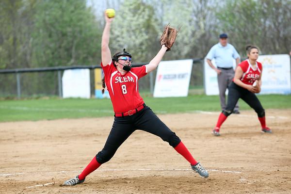 HADLEY GREEN/Staff photo<br /> Salem's Christina Napierkowski (8) pitches at the Salem v. Essex Tech softball game at Mack Park in Salem.<br /> <br /> 05/04/2018