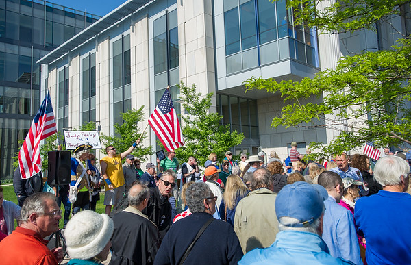 AMANDA SABGA/Staff photo<br /> <br /> People gather during a rally outside of Salem Superior Court pushing for the impeachment of Judge Timothy Feeley.<br /> <br /> 5/24/18