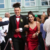 HADLEY GREEN/Staff photo<br /> Trevor Lipsett and Charlotte Farrar enter Marblehead High School's red carpet event for the junior prom. <br /> <br /> 05/18/2018