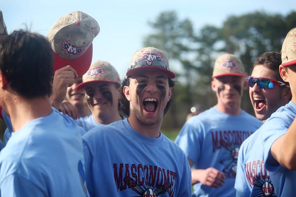 HADLEY GREEN/Staff photo<br /> Masconomet's Dash Crevoiserat cheers after the team scores at the Masconomet v. Swampscott boys baseball game at Masconomet High School.<br /> <br /> 05/05/2018