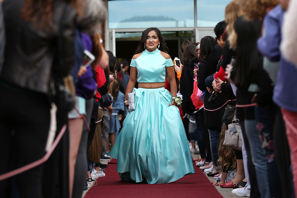 HADLEY GREEN/Staff photo Jailyn Hernandez walks down the red carpet before Marblehead High School's junior prom.   05/18/2018