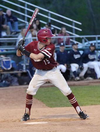 HADLEY GREEN/Staff photo<br /> Gloucester's E.J. Field (15) goes up to bat at the Danvers v. Gloucester baseball game at Twi Field in Danvers.<br /> <br /> 05/11/2018