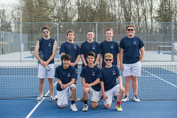 AMANDA SABGA/Staff photo<br /> <br /> The Peabody-Danvers tennis team poses for a photo after a tennis match between Peabody-Danvers and Salem at Peabody High School. <br /> <br /> 5/2/17