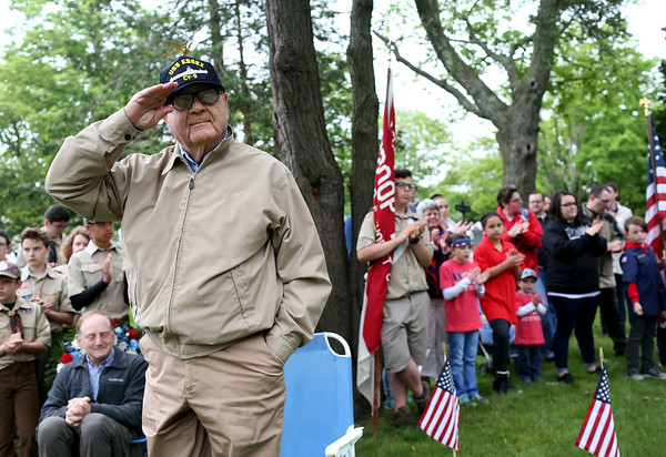 Staff photo/ HADLEY GREEN<br /> Veteran Louis Zirin salutes during the Salem Memorial Day ceremony at Greenlawn Cemetery. <br /> <br /> 05/28/2018