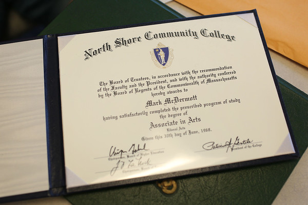 HADLEY GREEN/Staff photo<br /> Mark McDermott, Vietnam veteran and Danvers resident, received his diploma from the North Shore Community College class of 1968. <br /> <br /> 05/19/2018