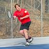 AMANDA SABGA/Staff photo<br /> <br /> Salem's Ryan Farley returns the ball during a tennis match between Peabody-Danvers and Salem at Peabody High School. <br /> <br /> 5/2/17