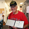 HADLEY GREEN/Staff photo<br /> Mark McDermott, Vietnam veteran and Danvers resident, finally received his diploma from the North Shore Community College class of 1968. McDermott left North Shore Community College early to enlist in the Navy. <br /> <br /> 05/19/2018