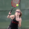 HADLEY GREEN/Staff photo<br /> Salem's Kaitlyn Dionne hits the ball during doubles play at the Salem High School v. Marblehead High School girls tennis match at Salem State University. <br /> <br /> 05/17/2018