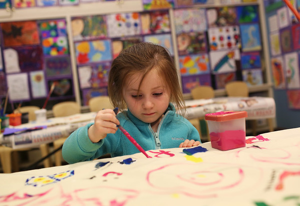 HADLEY GREEN/Staff photo<br /> Kiley Howard, 3, of Gloucester, paints at the Gloucester School Arts Festival at the Cape Ann Museum. <br /> <br /> 05/12/2018