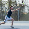 AMANDA SABGA/Staff photo<br /> <br /> Jason Davis catches a short return during a tennis match between Peabody-Danvers and Salem at Peabody High School. <br /> <br /> 5/2/17