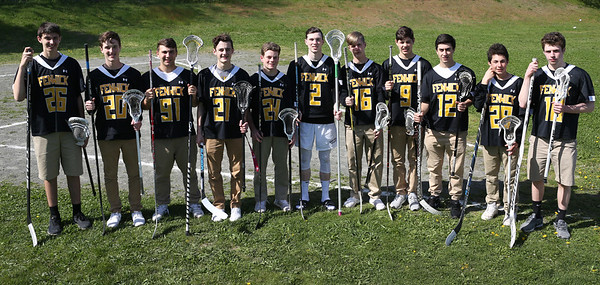 HADLEY GREEN/Staff photo<br /> From left, Nick Sasso (26), Connor Sturniolo (20), John Bernbaum (91), Don Paolo (21), Nick Muzi (24), Tyler Layton (2), Aeden Greham (16), Ian Worthlui (9), Derek DelVecchio (12), Diego Alvarez (28), and Jake Moniz (10) play both hockey and lacrosse at Bishop Fenwick High School.<br /> <br /> 05/11/2018