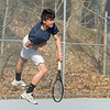 AMANDA SABGA/Staff photo<br /> <br /> Peabody's Paul Neal during a tennis match between Peabody-Danvers and Salem at Peabody High School. <br /> <br /> 5/2/17