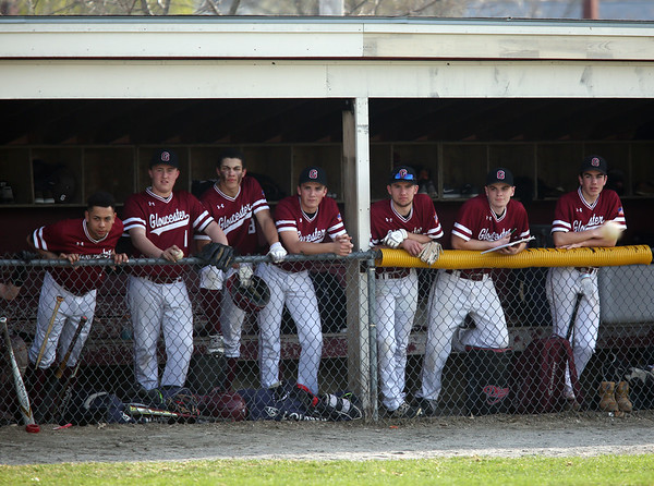 HADLEY GREEN/Staff photo<br /> Gloucester players watch from the dugout at the Gloucester v. Danvers baseball game at the Nate Ross Field in Gloucester.