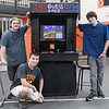 "Staff photo/ HADLEY GREEN<br /> From left, Josh Torrey, Trevor Schultz and Eric Argenio stand with an arcade machine that they built, the ""Guesstimate,"" at the Beverly High School senior internship fair. <br /> <br /> 05/29/2018"