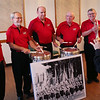 HADLEY GREEN/Staff photo<br /> From left, St. Mary's Crusaders Pete Beaulieu,Frank Picariello, Mike Meyer, Jim Galvin, Phil Dennesen and conductor Joe Nuccio congregate at the Franco-American Club in Beverly.  <br /> <br /> 05/09/2018