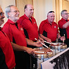 HADLEY GREEN/Staff photo<br /> From left, St. Mary's Cardinals Pete Beaulieu, Frank Picariello, Mike Meyer, Jim Galvin, and Phil Dennesen play together at the Franco-American Club in Beverly.  <br /> <br /> 05/09/2018