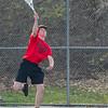 AMANDA SABGA/Staff photo<br /> <br /> Salem's Clayton Duffin serves during a tennis match between Peabody-Danvers and Salem at Peabody High School. <br /> <br /> 5/2/17