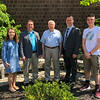 Charles Lawrence, center, donated the remaining funds from the class of 1946 to help fund a new civics class at Peabody Veteran's Memorial High School. From left is Sophia Brunet, a junior, teacher Ken McCue, Lawrence, Mayor Ted Bettencourt and junior Peter Kadeli.<br /> <br /> Photo by Mark Markos