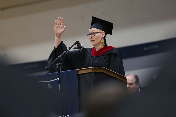 HADLEY GREEN/Staff photo<br /> Student speaker Katie Hightower addresses her class at the Gordon College Theological Seminary graduation ceremony. <br /> <br /> 05/12/2018