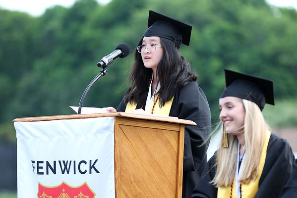 HADLEY GREEN/Staff photo<br /> Valedictorian Thien-Kim Nguyen addresses the crowd at the Bishop Fenwick High School graduation ceremony.<br /> <br /> 05/25/2018