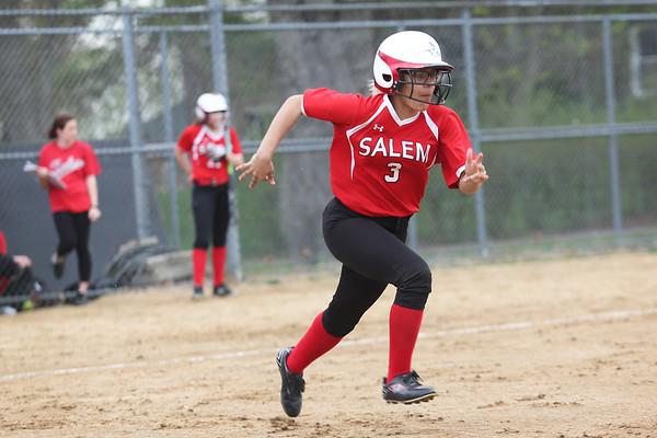 HADLEY GREEN/Staff photo<br /> Salem's Wildarys Correa (3) sprints to first at the Salem v. Essex Tech softball game at Mack Park in Salem.<br /> <br /> 05/04/2018