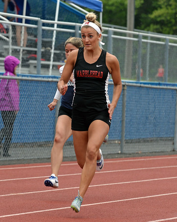 RYAN HUTTON/ Staff photo<br /> Marblehead's Chase Davies speeds down the track during the girls 100m dash at Tuesday's track meet at Peabody High.