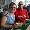HADLEY GREEN/Staff photo<br /> Susan and Brian Hardy sit down to enjoy their soup at Open Door Food Pantry's annual Empty Bowl fundraising dinner.