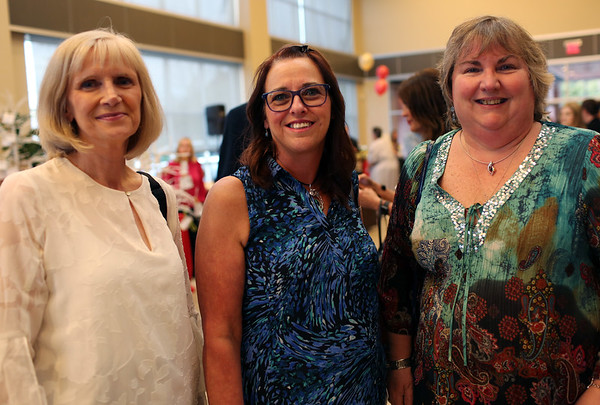 HADLEY GREEN/Staff photo<br /> From left, Linda Early of Tewksbury, Joan Fall of Beverly, and Kathy Cavallaro of Methuen attend the Gourmet Gala, a fundraiser for the North Shore Cancer Walk.<br /> <br /> 05/04/2018