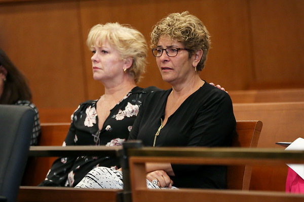 HADLEY GREEN/Staff photo<br /> Family and supporters of the victim become emotional during John Leone's sentencing at the Salem Superior Court. <br /> <br /> 05/16/2018