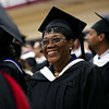 HADLEY GREEN/Staff photo<br /> Irose Gordon from Hartford, CT smiles during the Gordon College Theological Seminary graduation ceremony. <br /> <br /> 05/12/2018
