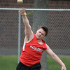 RYAN HUTTON/ Staff photo<br /> Marblehead's Kyle Wheeler heaves the shot put at Tuesday's track meet at Peabody High.