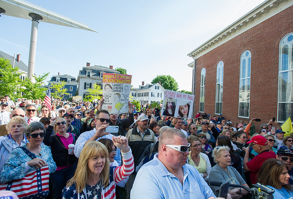 AMANDA SABGA/Staff photo<br /> <br /> People chant during a rally outside of Salem Superior Court pushing for the impeachment of Judge Timothy Feeley.<br /> <br /> 5/24/18