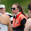 Staff photo/ HADLEY GREEN<br /> Beverly coach Alyson Healey speaks to players during a timeout at the Beverly v. Peabody girls lacrosse game.<br /> <br /> 05/28/2018