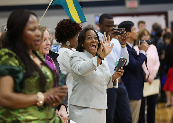 HADLEY GREEN/Staff photo<br /> Nadine Knowles from the Bahamas waves to her husband at the Gordon College Theological Seminary graduation ceremony. <br /> <br /> 05/12/2018