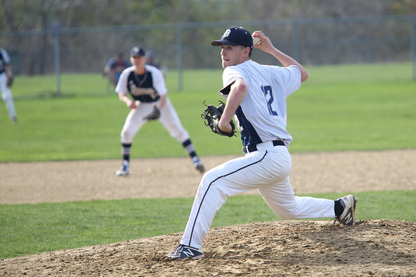 HADLEY GREEN/Staff photo<br /> Danvers' Just Roberto (12) pitches at the Gloucester v. Danvers baseball game at the Nate Ross Field in Gloucester.