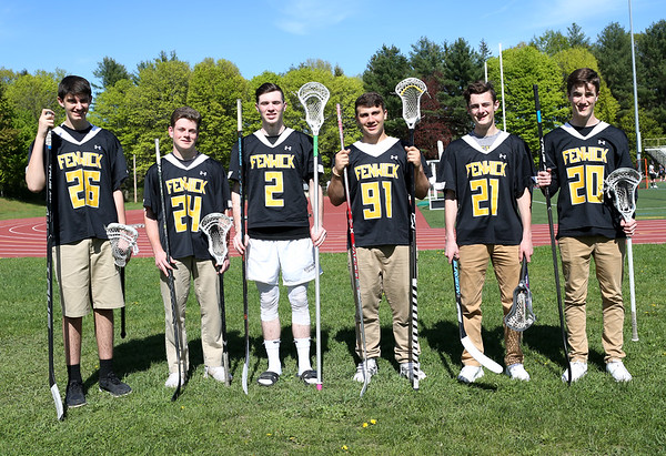HADLEY GREEN/Staff photo<br /> From left, Nick Sasso, Nick Muzi, Tyler Layton, John Bernbaum (91), Don Paolo (21), and Connor Sturniolo (20) are both hockey and lacrosse players at Bishop Fenwick High School.<br /> <br /> 05/11/2018