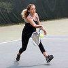 HADLEY GREEN/Staff photo<br /> Marblehead's Sara Weiss hits the ball during singles play against Salem's Isabelle Santoro at the Salem High School v. Marblehead High School girls tennis match at Salem State University. <br /> <br /> 05/17/2018