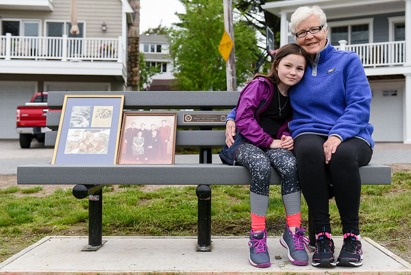 "Judy Salvanelli and a bench dedicated to Silvio ""Sal"" Salvanelli"