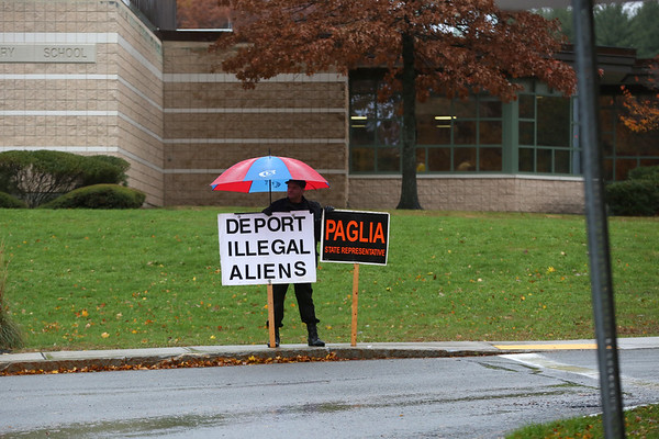 HADLEY GREEN/ Staff photo<br /> Donato Paglia, who is running for the 6th Essex District state representative seat against incumbent Rep. Jerry Parisella, stands outside the North Beverly Elementary School polling location on Election Day.<br /> <br /> 11/06/2018